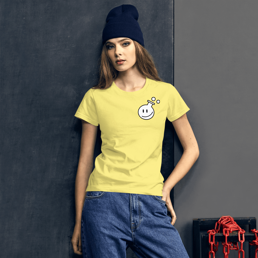 photo of Yellow T-shirt with poetry from the lab logo