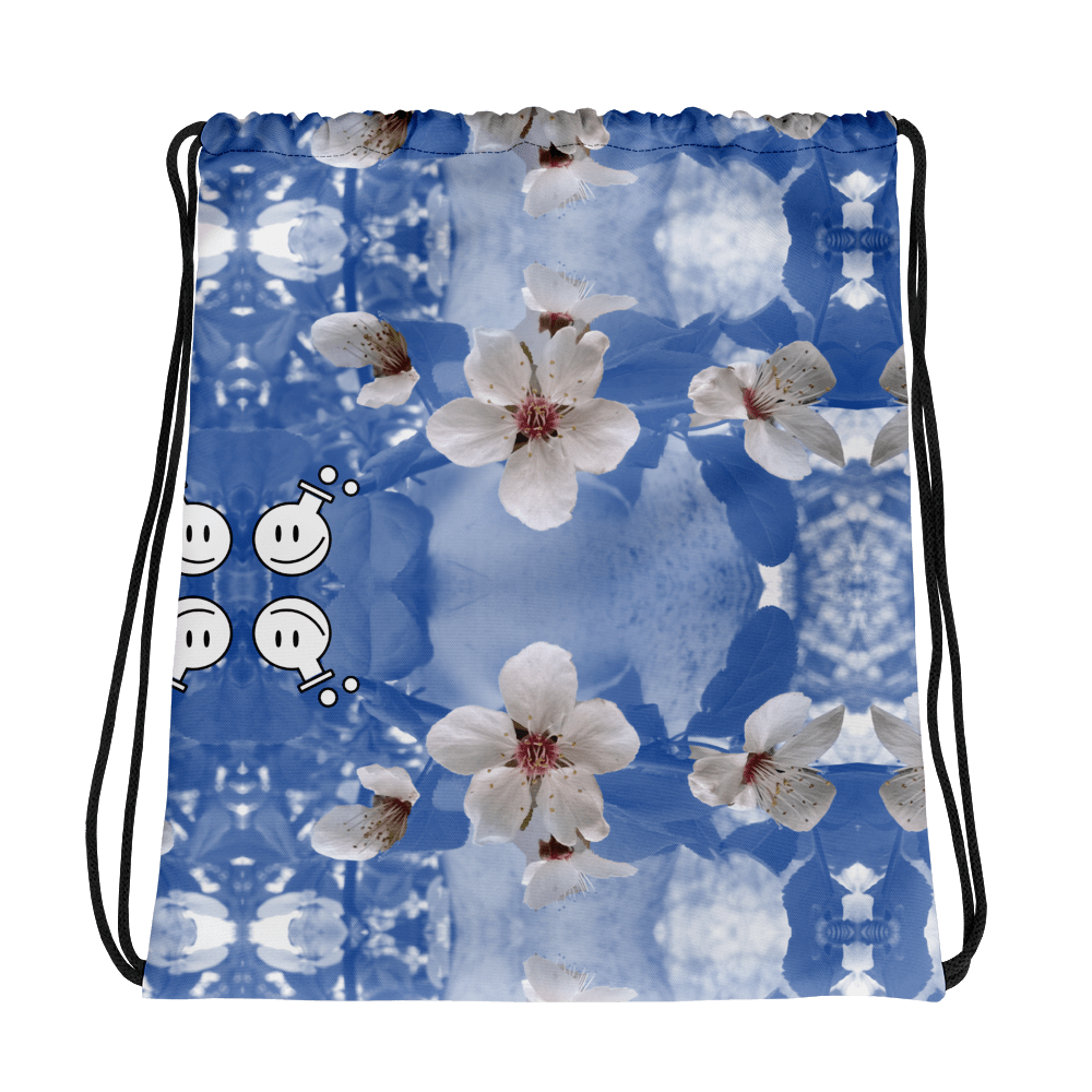 photo of String bag with blue hypnotic floral pattern