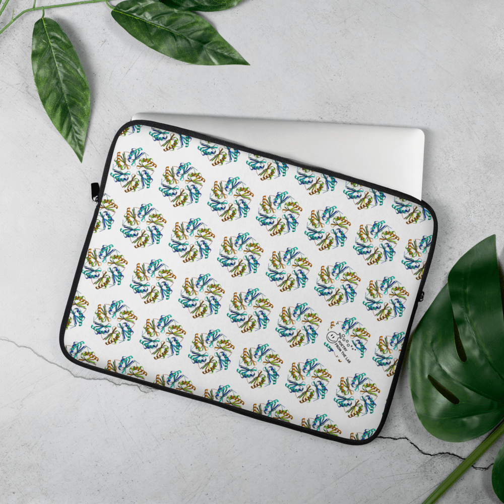 photo of colorful laptop sleeve with a crystal structure of protein